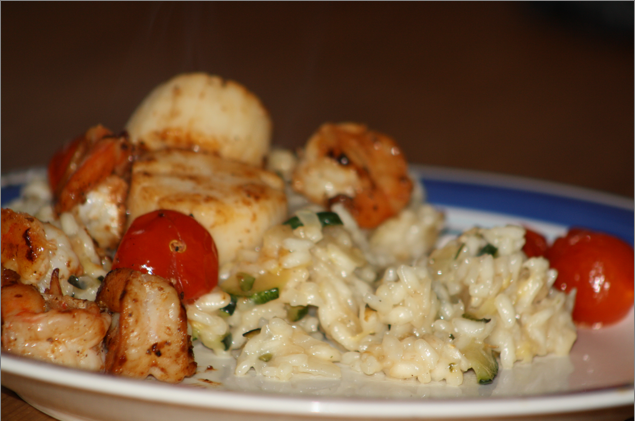 Risotto shown is a trial with shrimp and scallops, but my final verdict is that the tastiest and cheapest iteration uses only shrimp