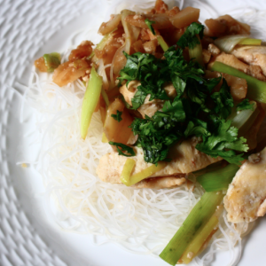 Tummy Taming Stir-Fried Ginger Chicken with Leeks