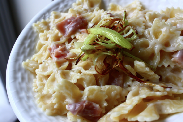 Farfalle with Fontina, Prosciutto and Crispy Leeks | Feast on the ...