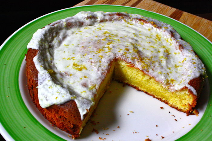 Lemon Olive Oil Cake with a Lemon Rosemary Glaze | Feast on the Cheap