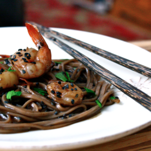 Soy-Glazed Black Sesame Shrimp with Soba Noodles