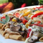 Thumbnail image for Whole Wheat Pasta with Mushrooms, Sweet Peppers, and Fontina Cheese
