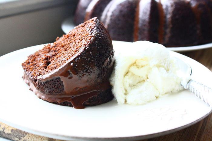 chocolate pumpkin bundt cake with a gooey chocolate glaze