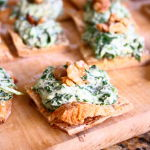 Thumbnail image for Spinach-Ricotta Spread on Crispy Parmesan Squares