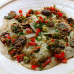 Thumbnail image for Crab Stuffed Ravioli with a Duxelle of Mushrooms, Shallots, Red Peppers, and Pistachios