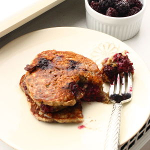 Oatmeal-Blackberry Pancakes with Orange Zest and Greek Yogurt