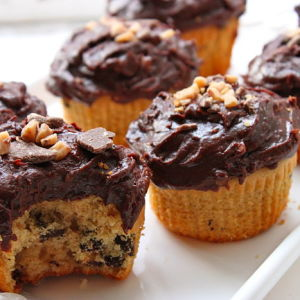 Peanut Butter-Chocolate Chip Cupcakes with Heath Bar Frosting
