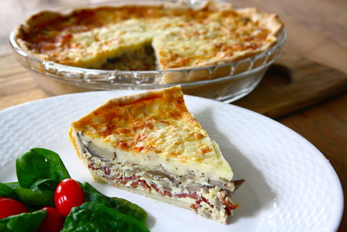 Mushroom Quiche with Crisp Turkey Bacon and Sweet Onions | Feast on ...