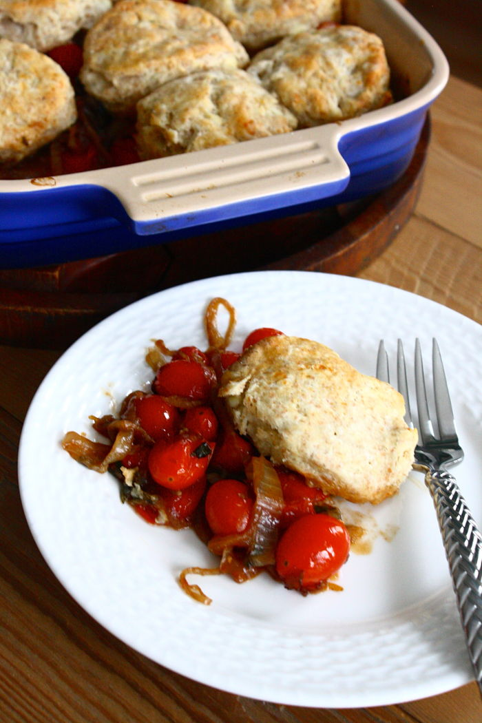 Tomato Cobbler with Caramelized Onions and Blue Cheese Biscuits ...