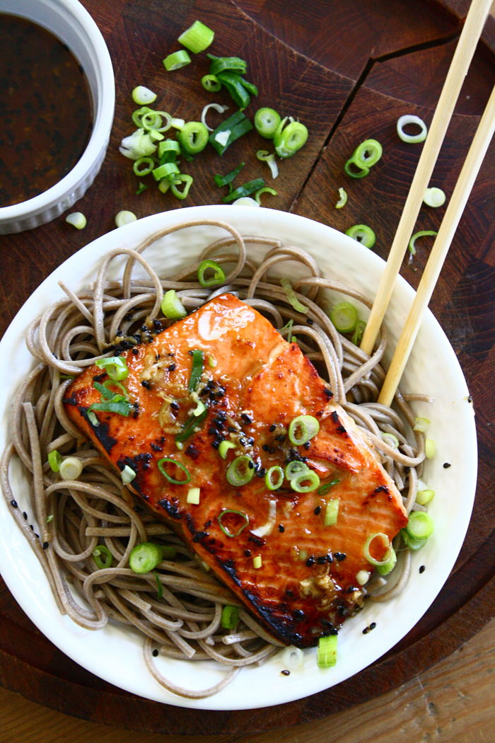 Sesame Ginger Salmon over Soba Noodles Serves 4 Inspired by Mother ...