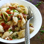 Thumbnail image for Pasta with Creamy Goat Cheese, Crisp Bacon and Fresh Chives