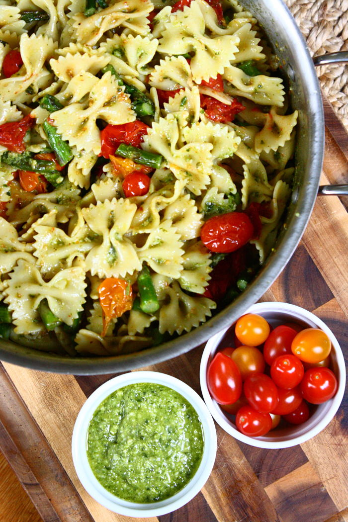 Pesto Pasta Salad with Roasted Tomatoes and Asparagus | Feast on the ...