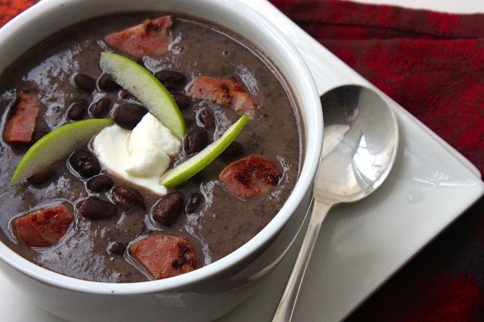 black bean apple soup