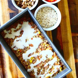 Carrot Cake Baked Oatmeal with Cream Cheese Drizzle