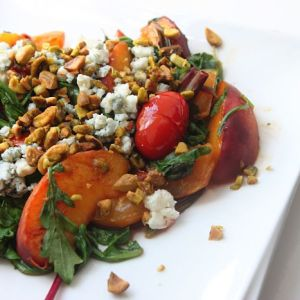 Warm Super Greens Salad with Pistachios & Sweet Peaches
