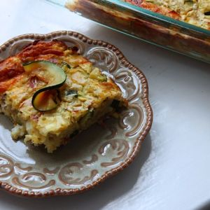 Cheesy Zucchini Pie with Prosciutto and Sweet Onions ala Alyssa