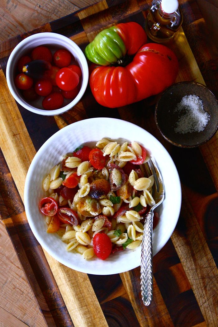 No-Cook Tomato & Brie Pasta Sauce with Sweet Basil | Feast on the ...
