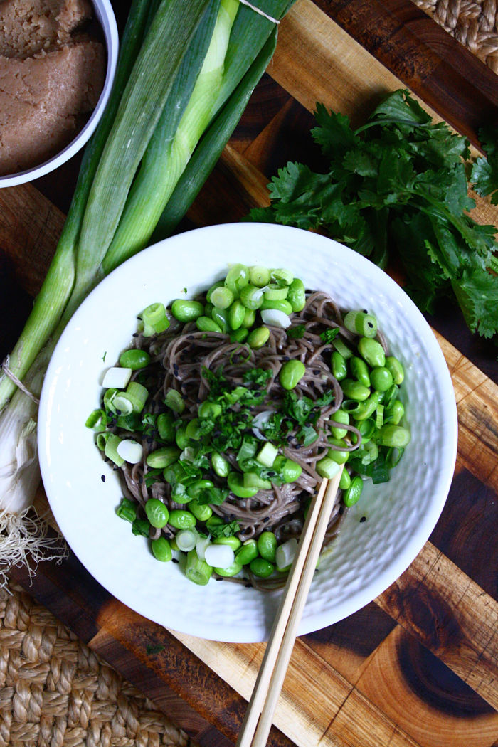 Sesame-Miso Noodles with Green Onions & Edamame