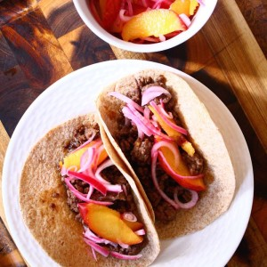 Sesame-Miso Asian Beef Tacos with Quick-Pickled Peaches & Red Onion
