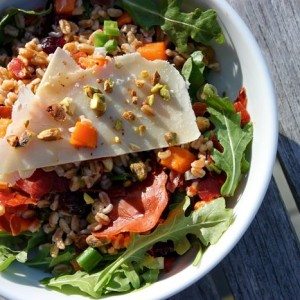 Farro Salad with Sweet Potato, Scallions & Dried Cherries