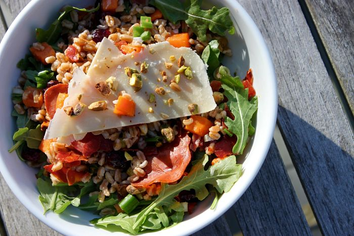 Farro Salad with Sweet Potatoes, Scallions & Cherries