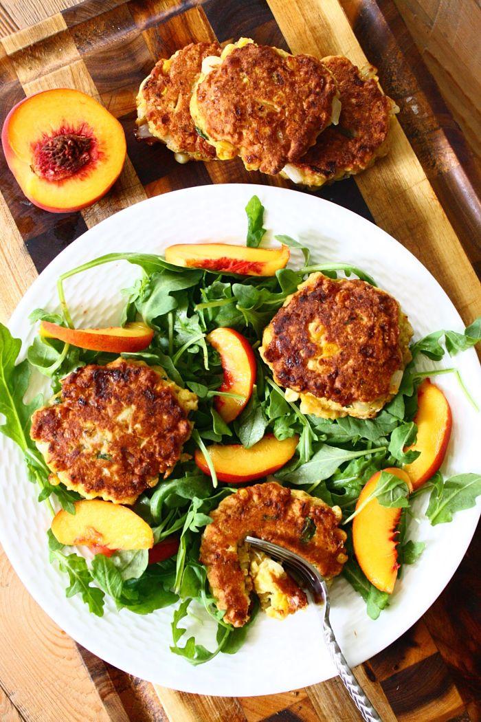 Corncake Salad with Arugula & Sweet Peaches