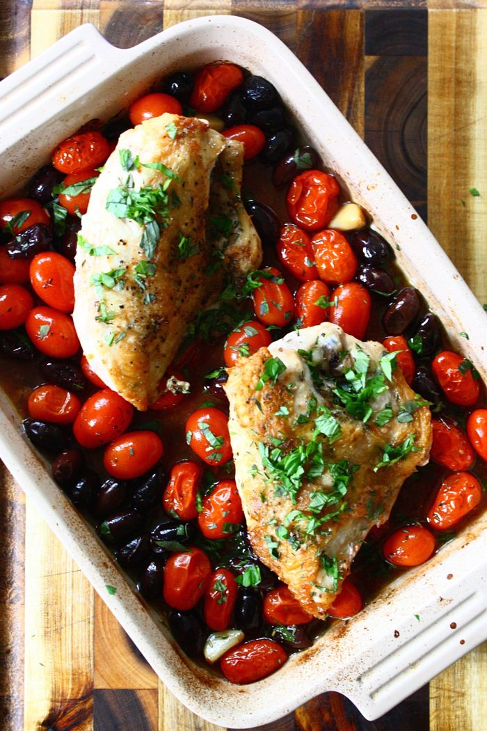 Roasted Chicken w:Tomatoes, Olives & Fresh Herbs