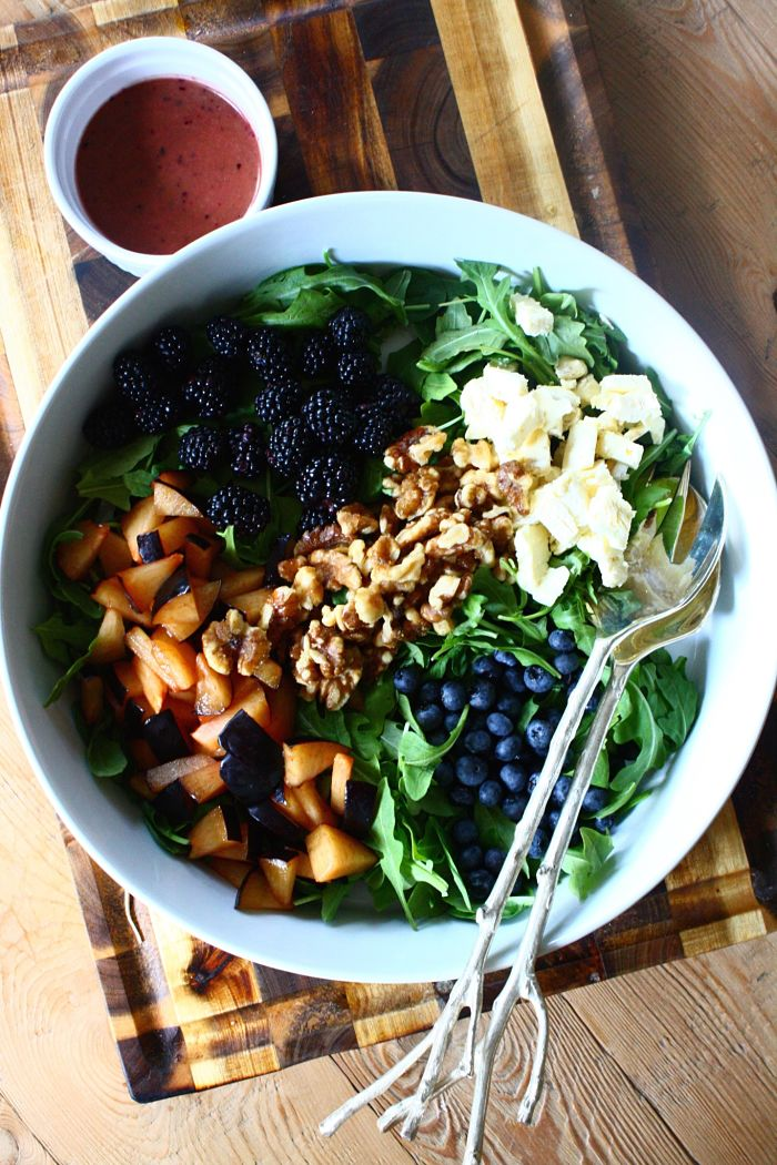 Summer Salad with Plums, Brie, Glazed Walnuts & Blueberry-Balsamic