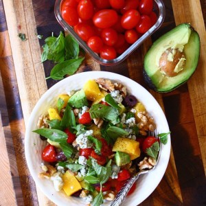 Tomato and Avocado Salad with Mango, Blue Cheese, Walnuts and Olives