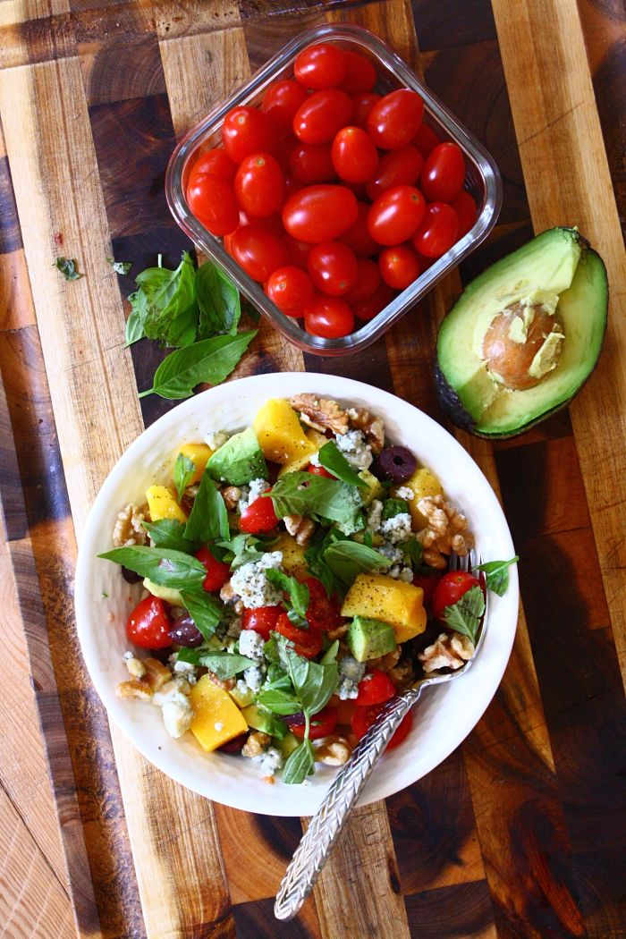 Tomato Salad with Mango, Fresh Basil, Walnuts, Blue Cheese & Kalamata Olives