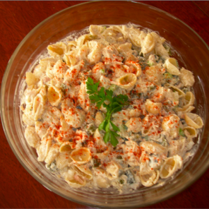 Macaroni Salad with Tuna and Sweet Pickles