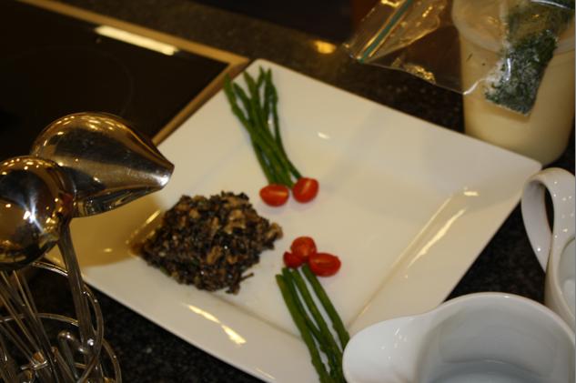 Stew Leonard's slim spears (alongside wild rice salad)