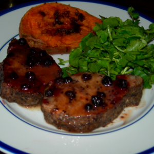 """Laurie L.'s Pork """"Chops"""" with Black Currant Reduction"""