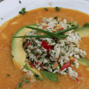 Mango Gazpacho Topped with Crab and Avocado