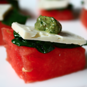 Watermelon Bites with Feta, Fresh Spinach and a Cilantro-Mint Pesto