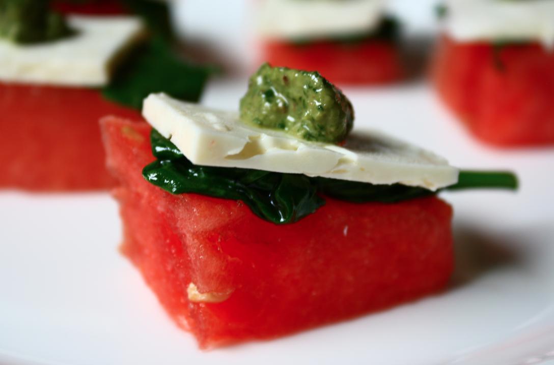 Watermelon Bites with Feta, Fresh Spinach and a Cilantro ...