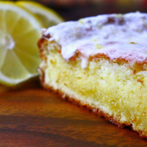 Lemon Olive Oil Cake with a Lemon Rosemary Glaze
