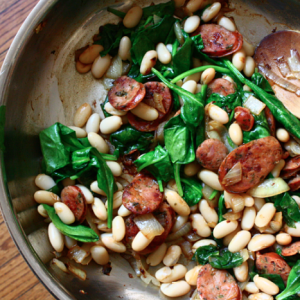 White Beans, Sausage and Fresh Spinach