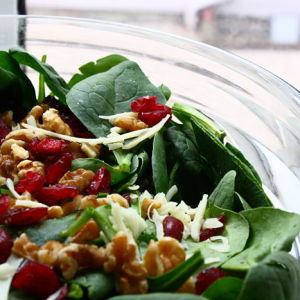 Mixed Greens with Walnuts and Dried Cranberries