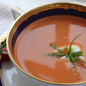 Roasted Red Pepper Soup with Crabmeat
