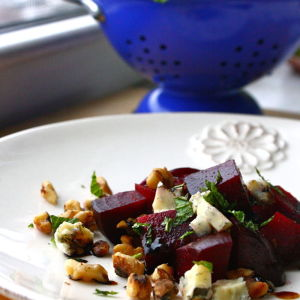 Roasted Beets, Toasted Walnuts and Fresh Mint Drizzled with an Orange-Balsamic Syrup