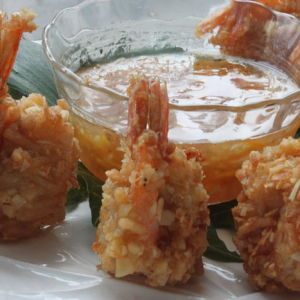 Beer-Battered Coconut Shrimp with Orange-Ginger Marmalade