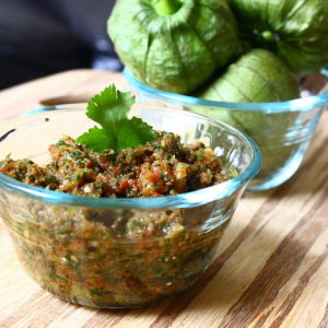 Roasted Tomato Salsa with Fresh Cilantro and Tomatillos