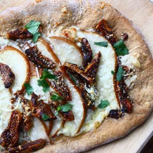 White Pizza with Sweet Pears and Balsamic-Glazed Figs