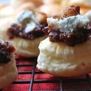 Puff Pastry Bites with Stilton, Fig Jam, and Candy-Glazed Walnuts