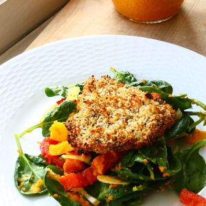 Mango-Spinach Salad Topped with Oven-Baked Panko Chicken and Carrot-Ginger Dressing