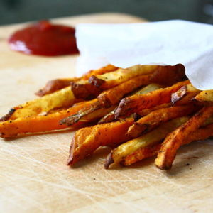 Crispy Baked Sweet Potato Fries Seasoned with Old Bay