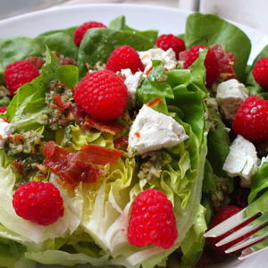 Beggar's Salad with Raspberries, Prosciutto, Chevre and a Chunky Almond Vinaigrette
