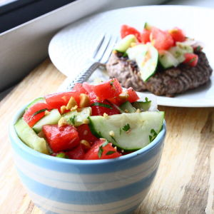 Cucumber and Watermelon Salad with Pickled Onions – aka My New Favorite Burger Topping
