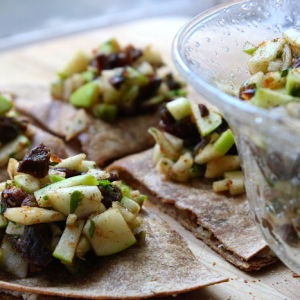 Montrachet and Walnut Quesadillas with Apple, Fig, and Date Salsa